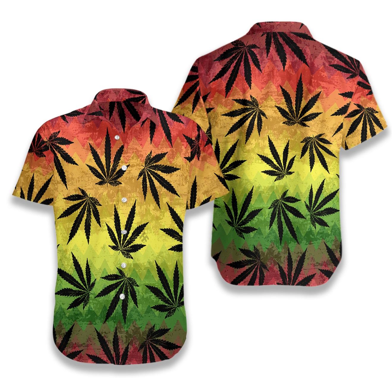 Marijuana leaf rasta hawaiian shirt 1