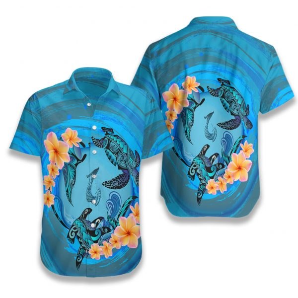 Marquesas islands blue plumeria animal tattoo hawaiian shirt 1