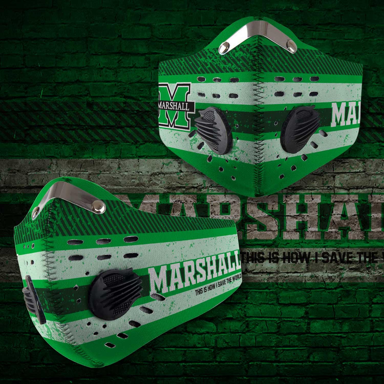 Marshall thundering herd football carbon filter face mask 2