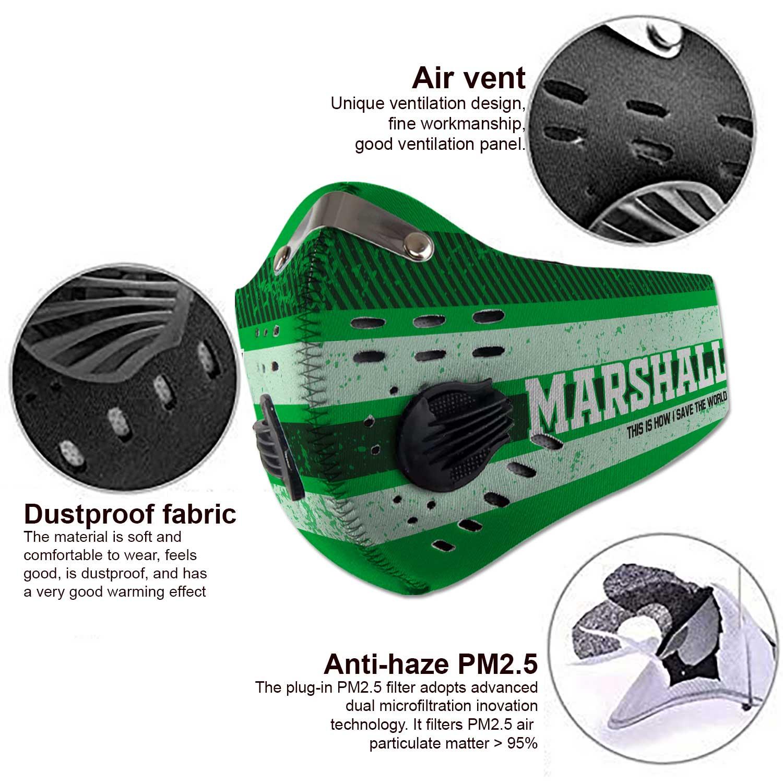 Marshall thundering herd football carbon filter face mask 3