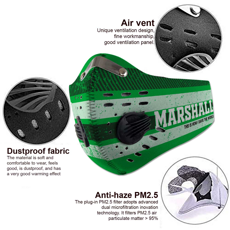 Marshall thundering herd football carbon filter face mask 4