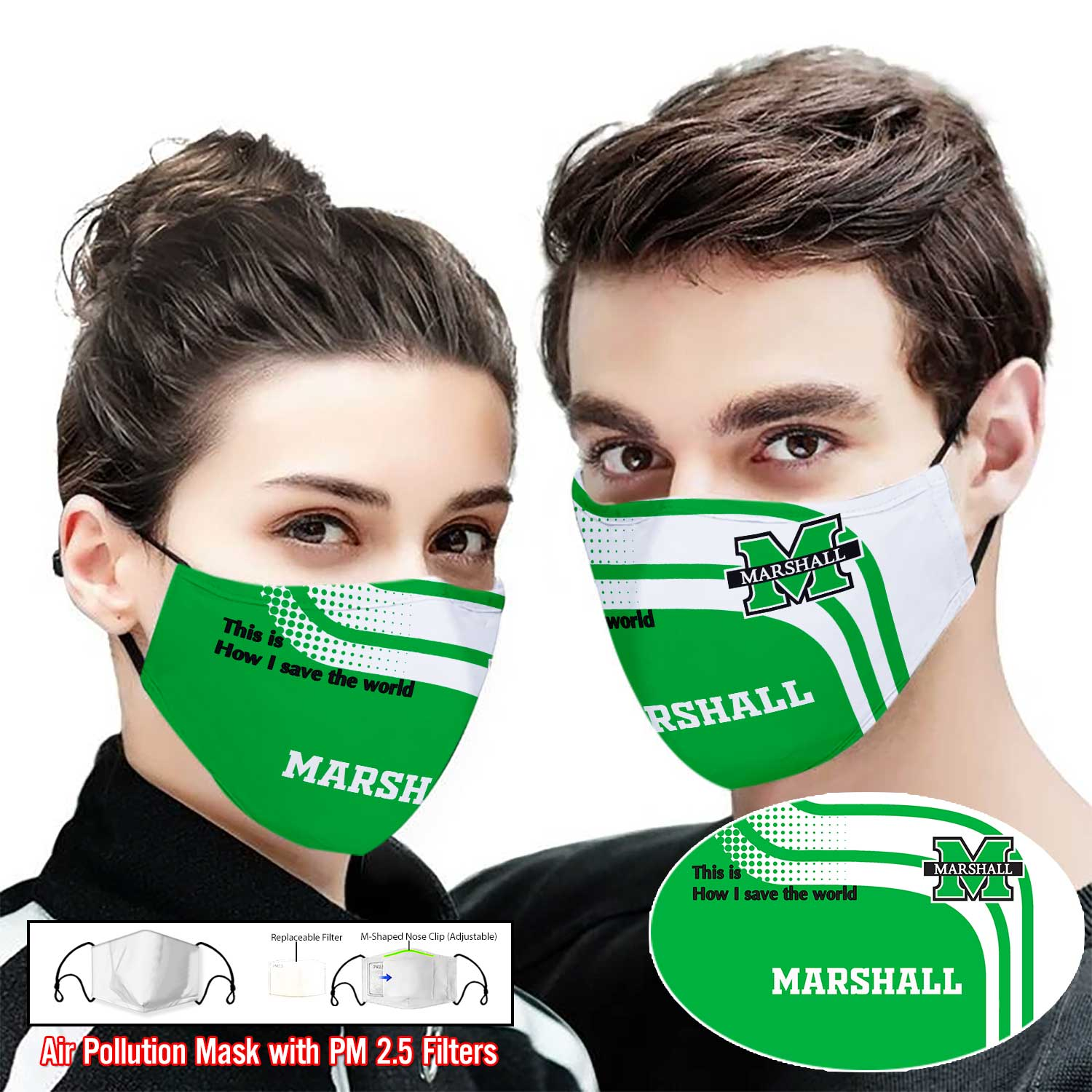 Marshall thundering herd this is how i save the world face mask 2