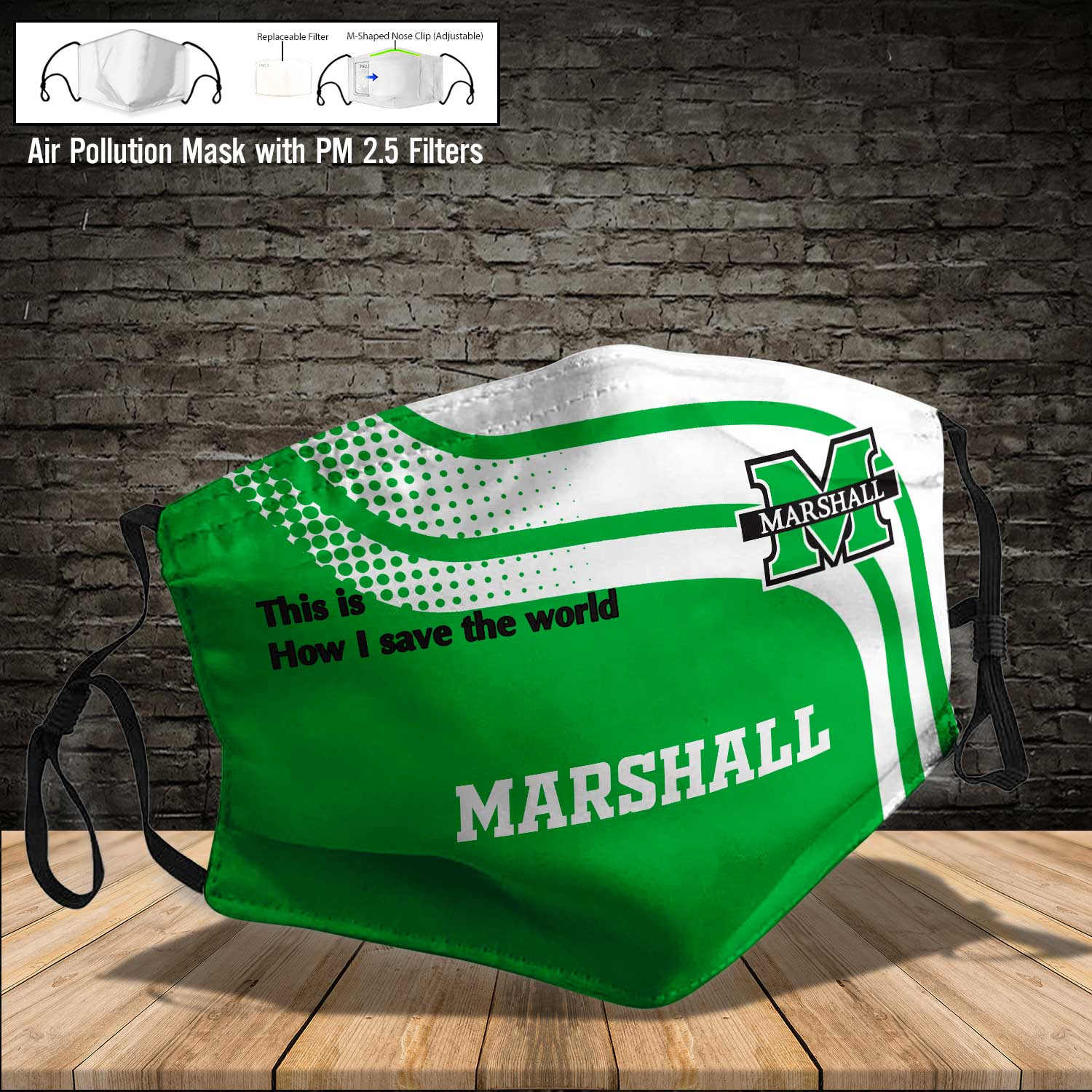 Marshall thundering herd this is how i save the world face mask 3
