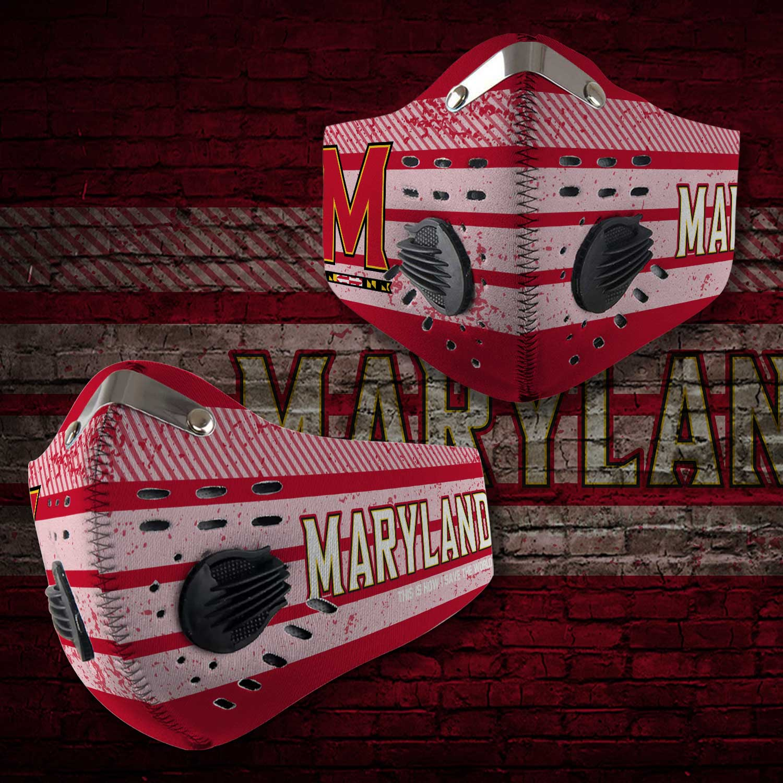 Maryland terrapins football carbon filter face mask 2