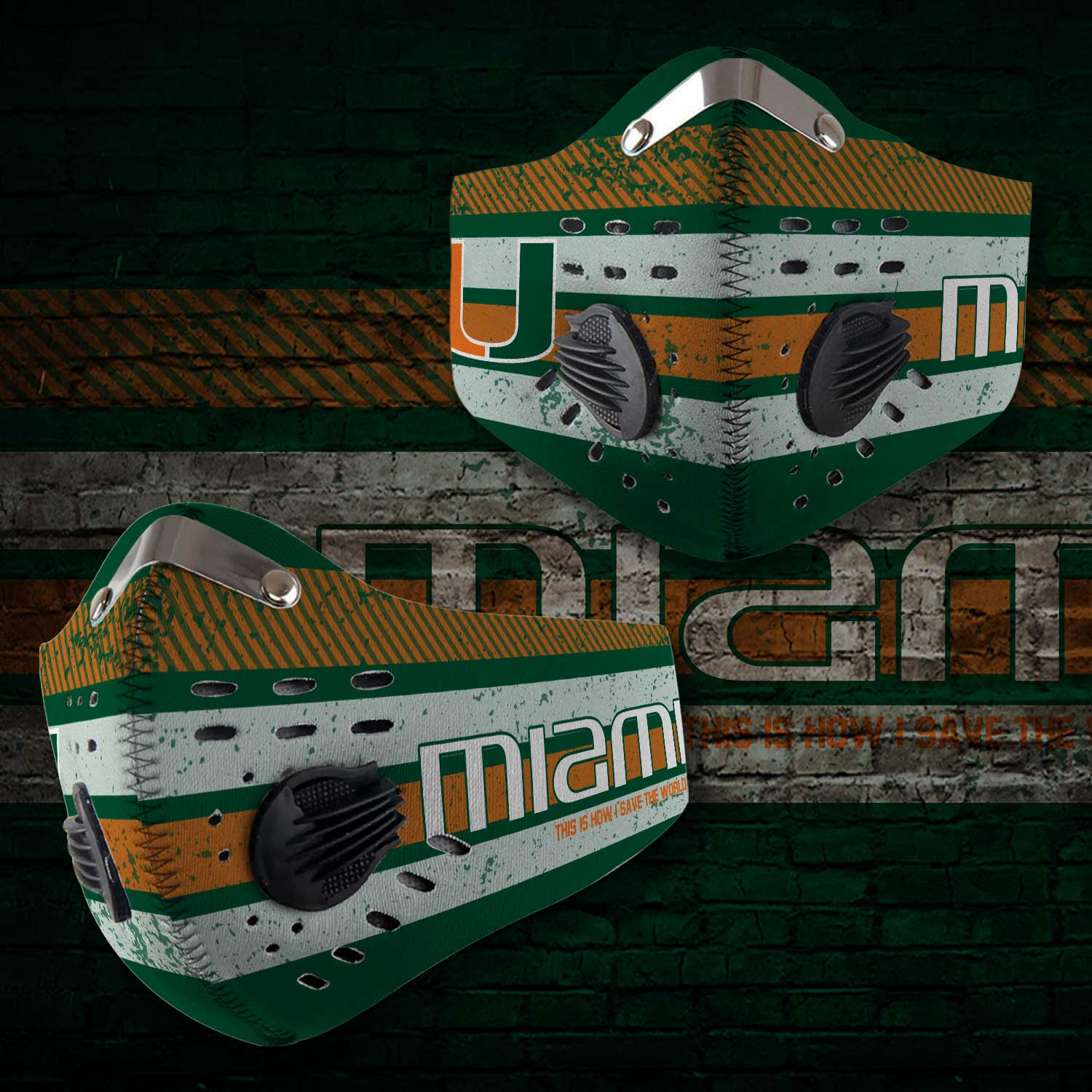 Miami hurricanes football carbon filter face mask 1