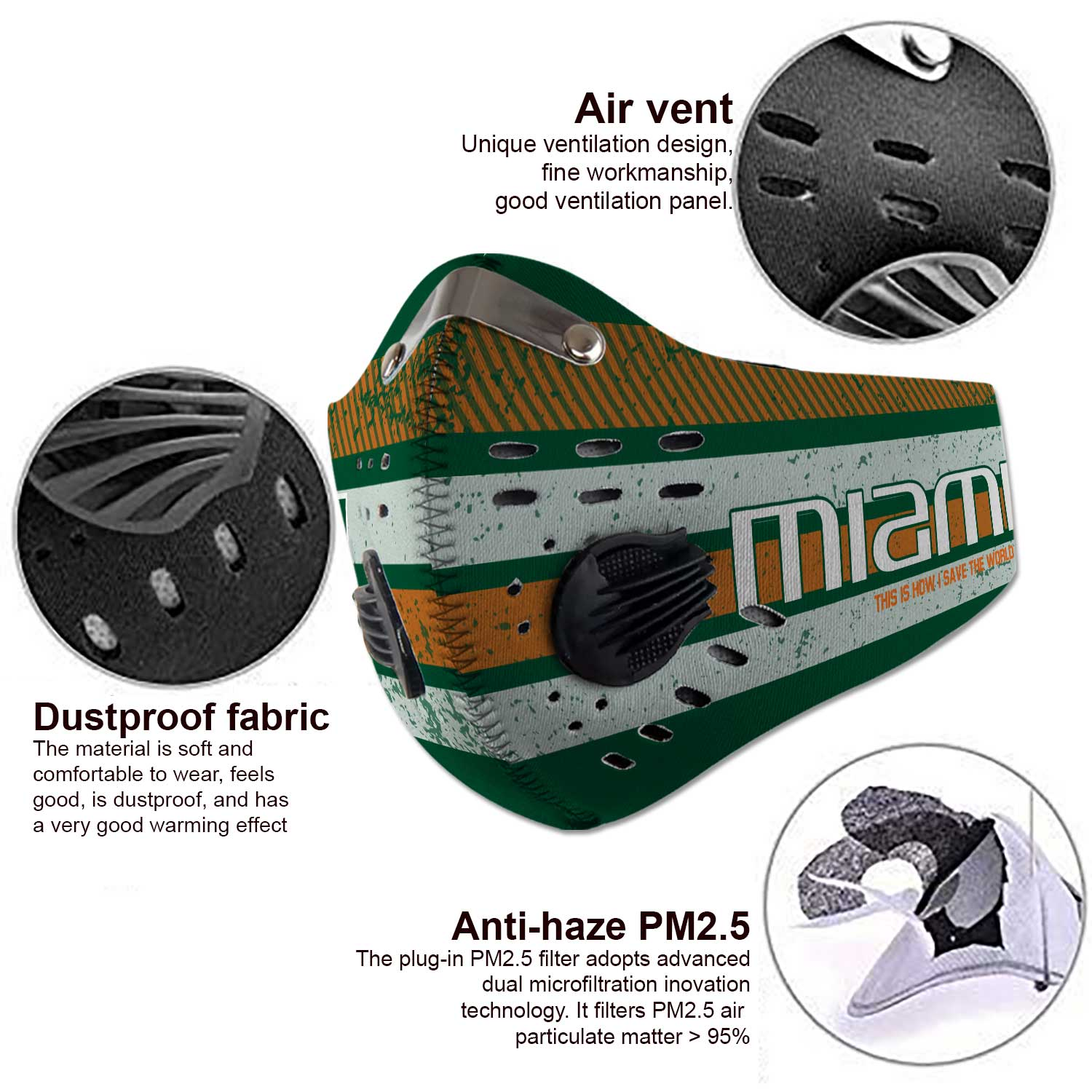 Miami hurricanes football carbon filter face mask 3