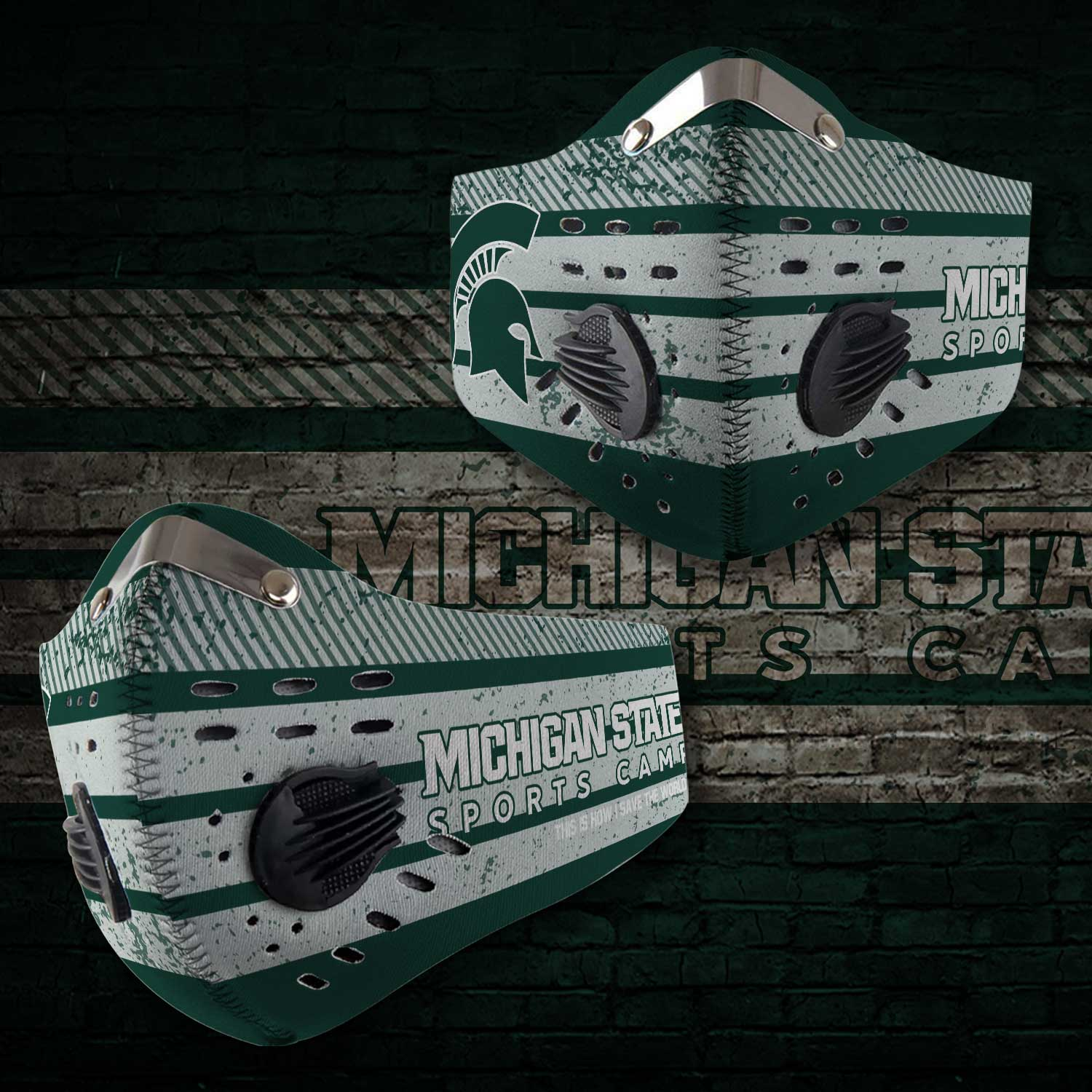 Michigan state spartans football carbon filter face mask 2