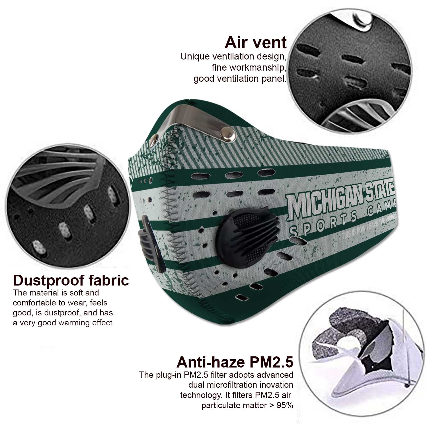 Michigan state spartans football carbon filter face mask 3