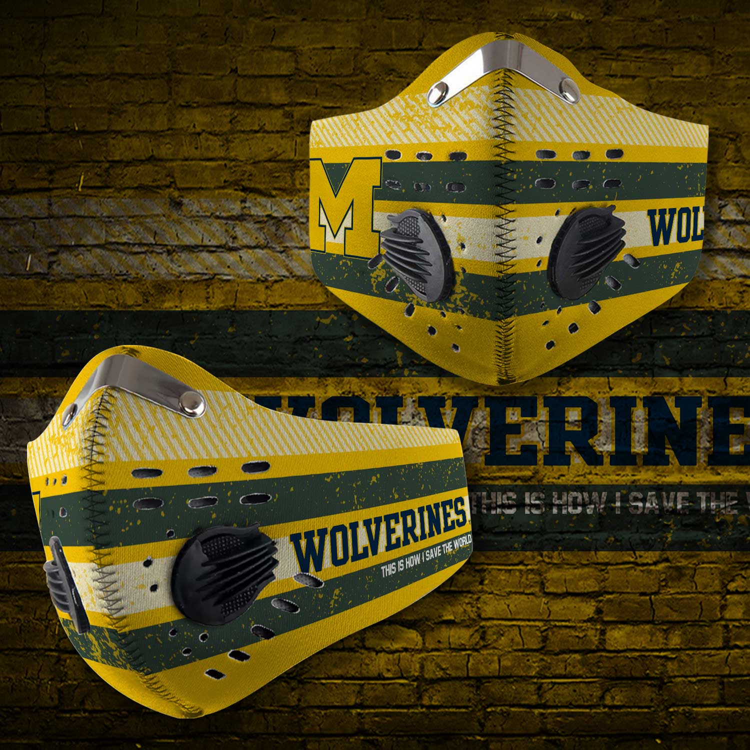 Michigan wolverines football carbon filter face mask 1
