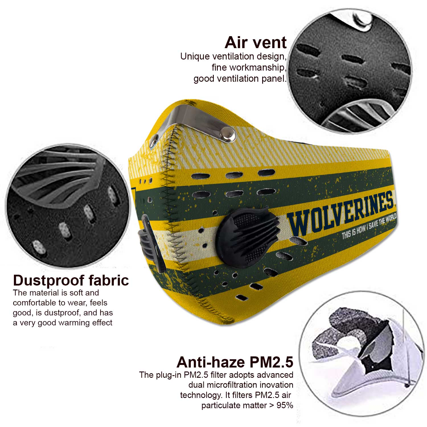 Michigan wolverines football carbon filter face mask 4