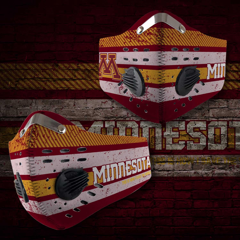 Minnesota golden gophers football carbon filter face mask 2