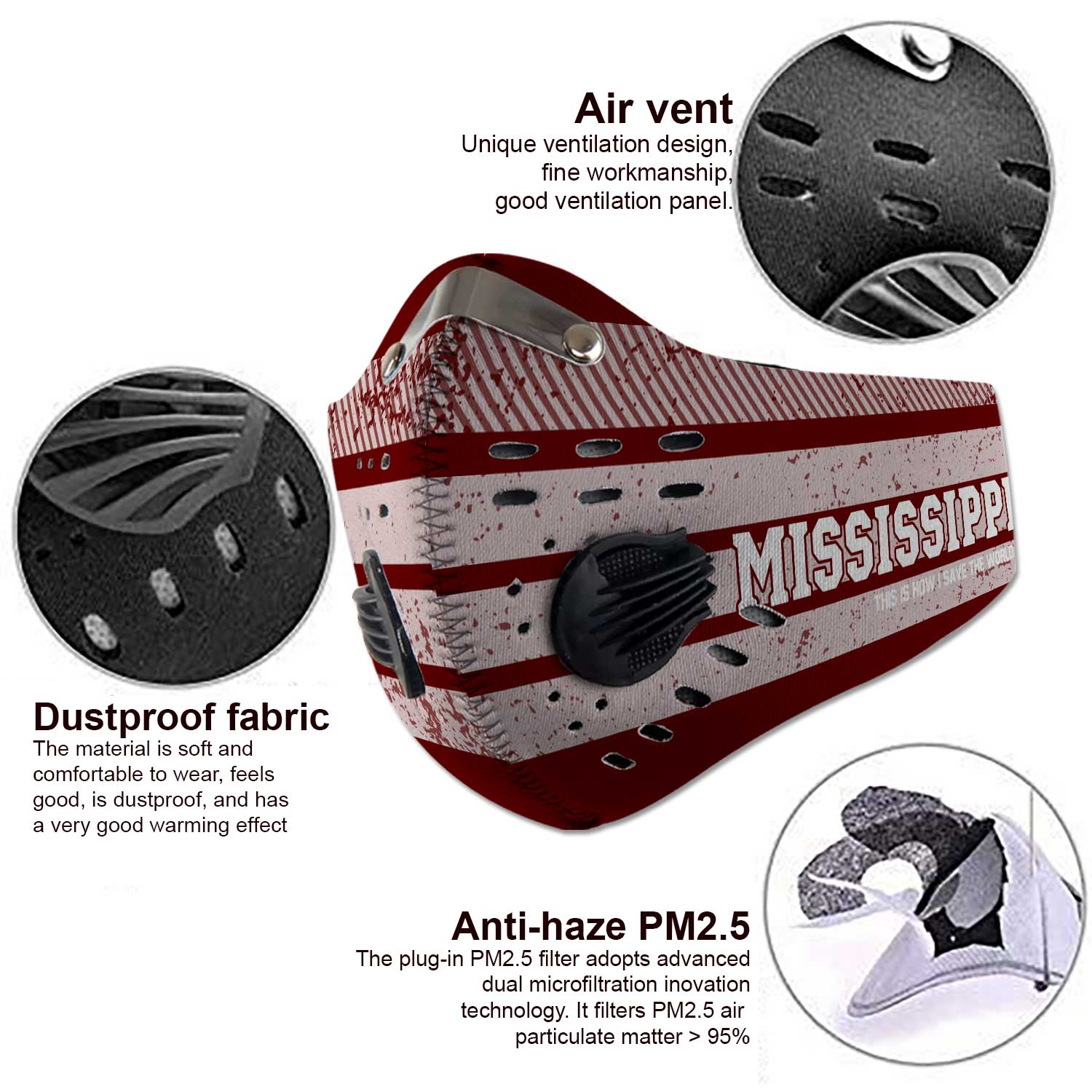 Mississippi state bulldogs football carbon filter face mask 3