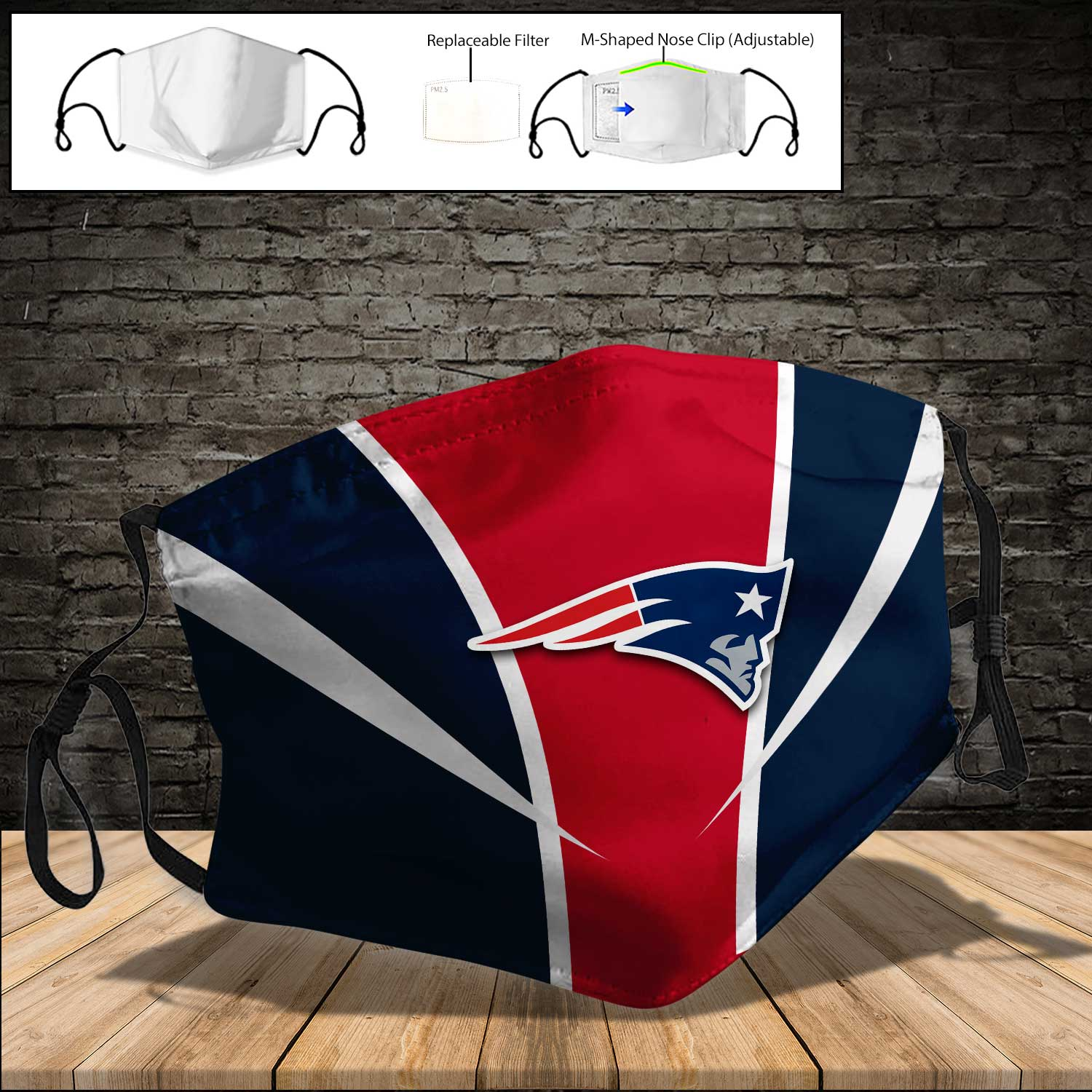 NFL new england patriots full printing face mask 3