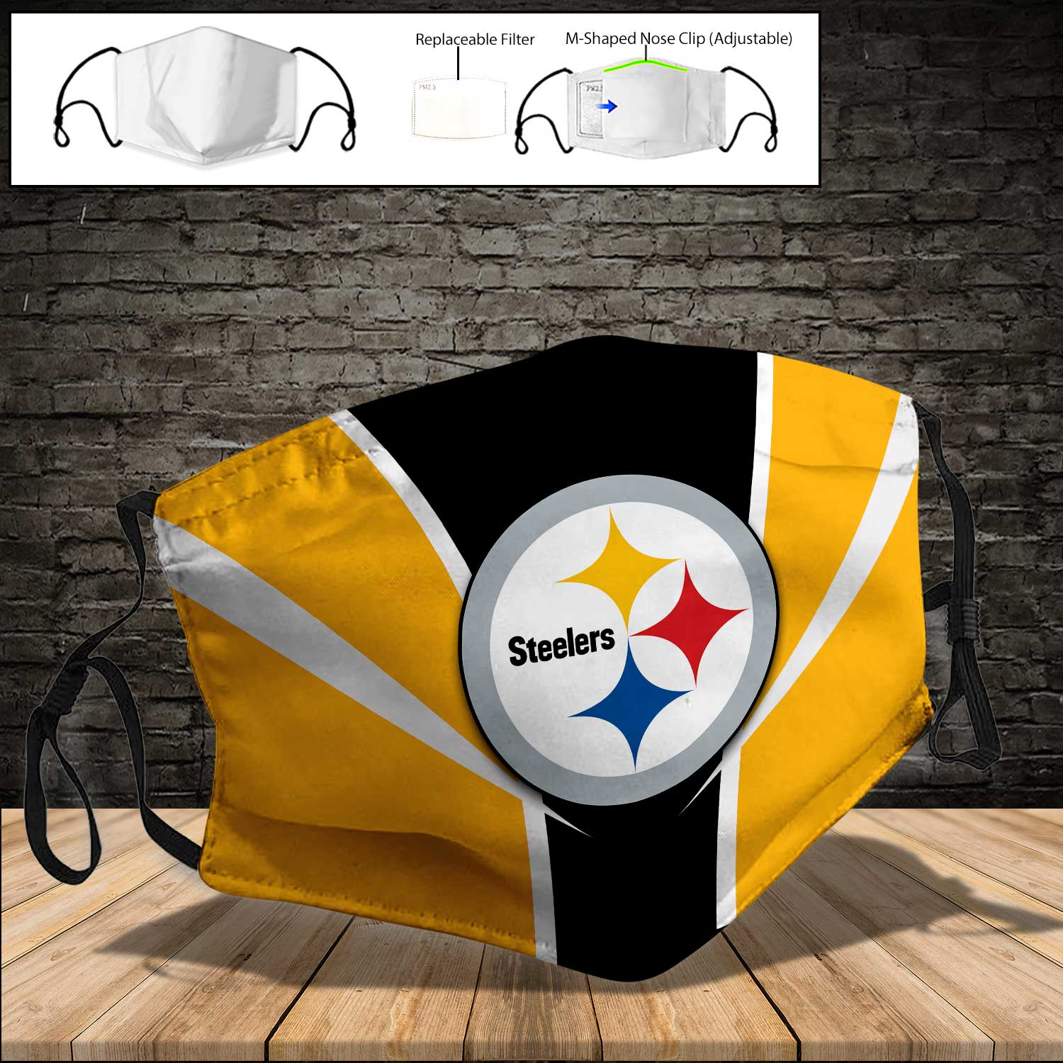 NFL pittsburgh steelers full printing face mask 3