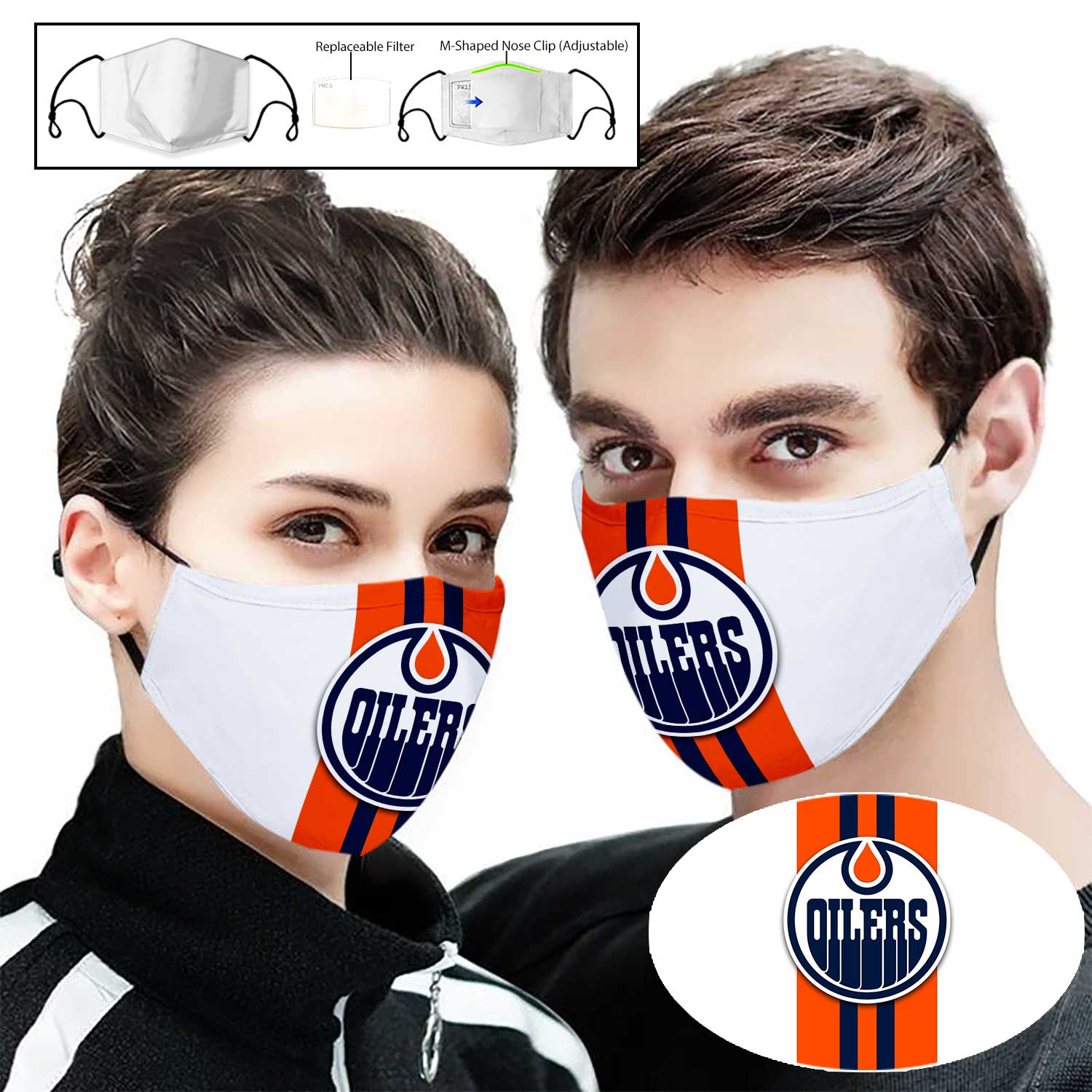 National hockey league edmonton oilers full printing face mask 1