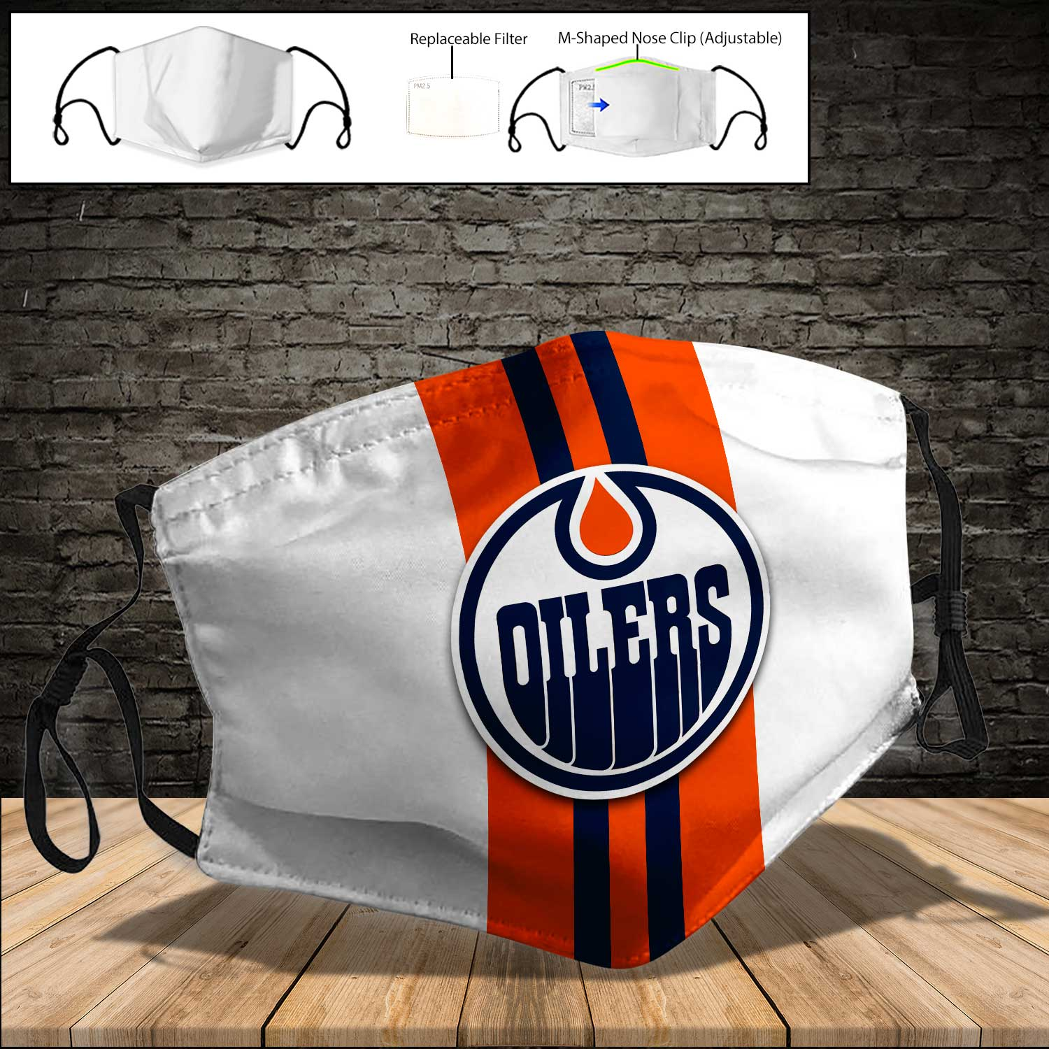 National hockey league edmonton oilers full printing face mask 4