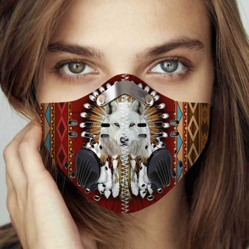 Native american wolf filter activated carbon face mask 2
