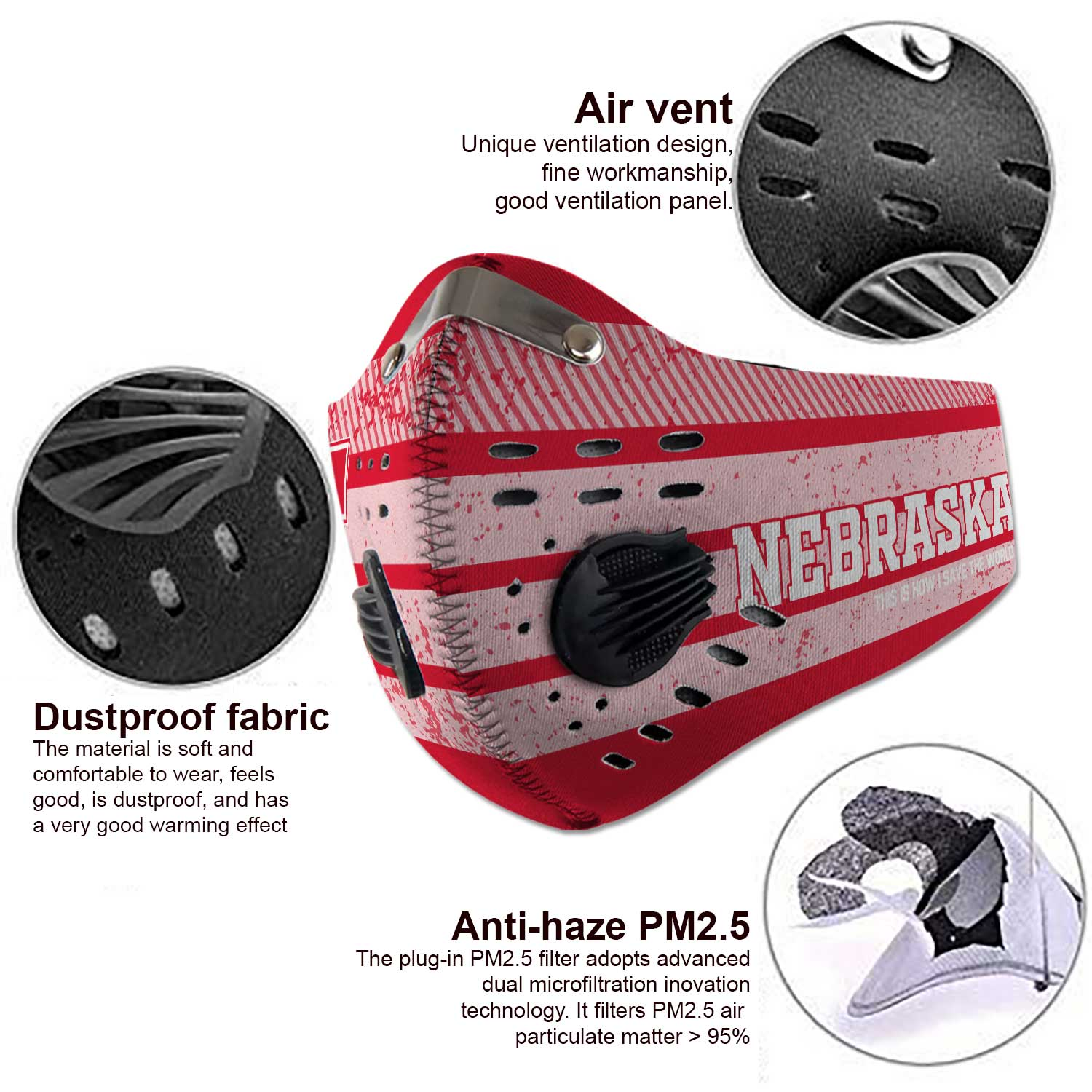 Nebraska cornhuskers this is how i save the world carbon filter face mask 4