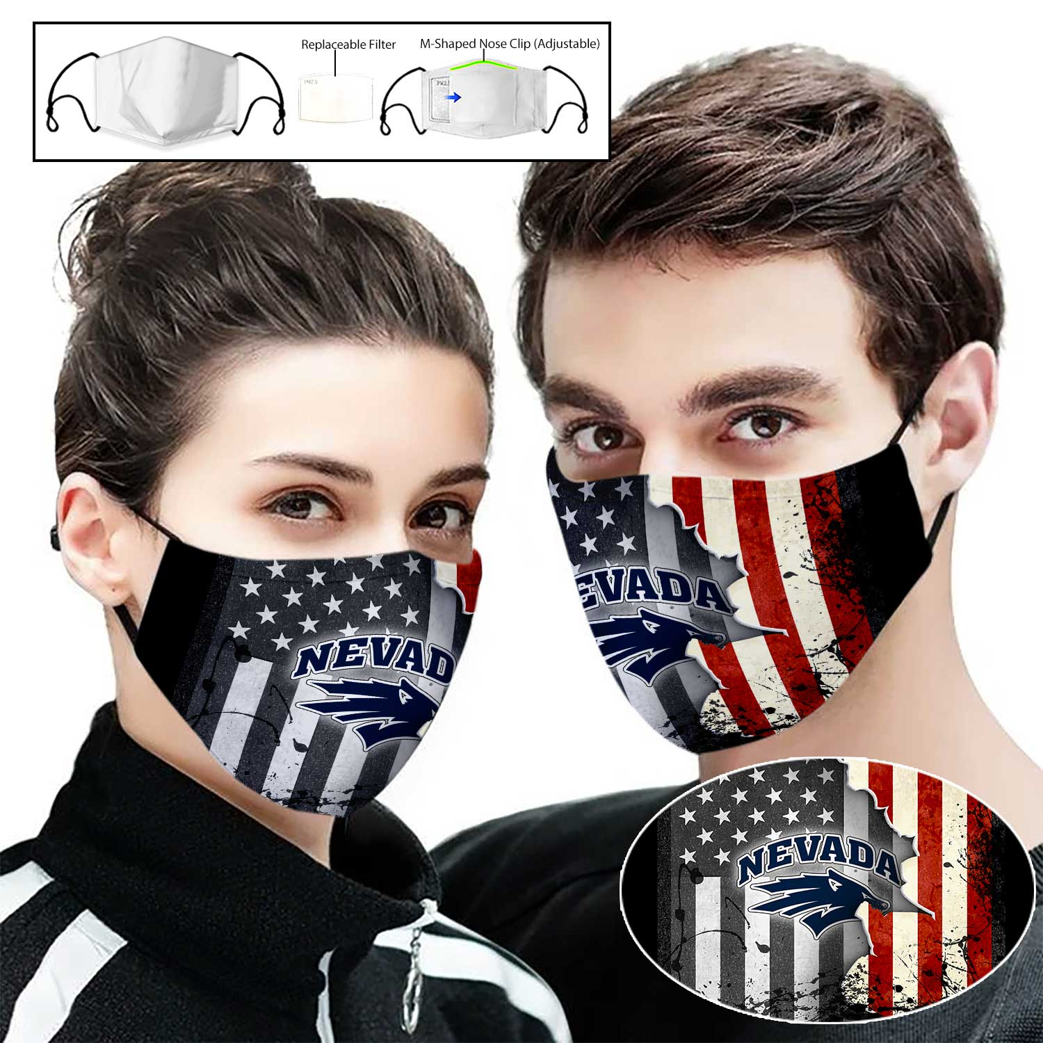 Nevada wolf pack american flag full printing face mask 1