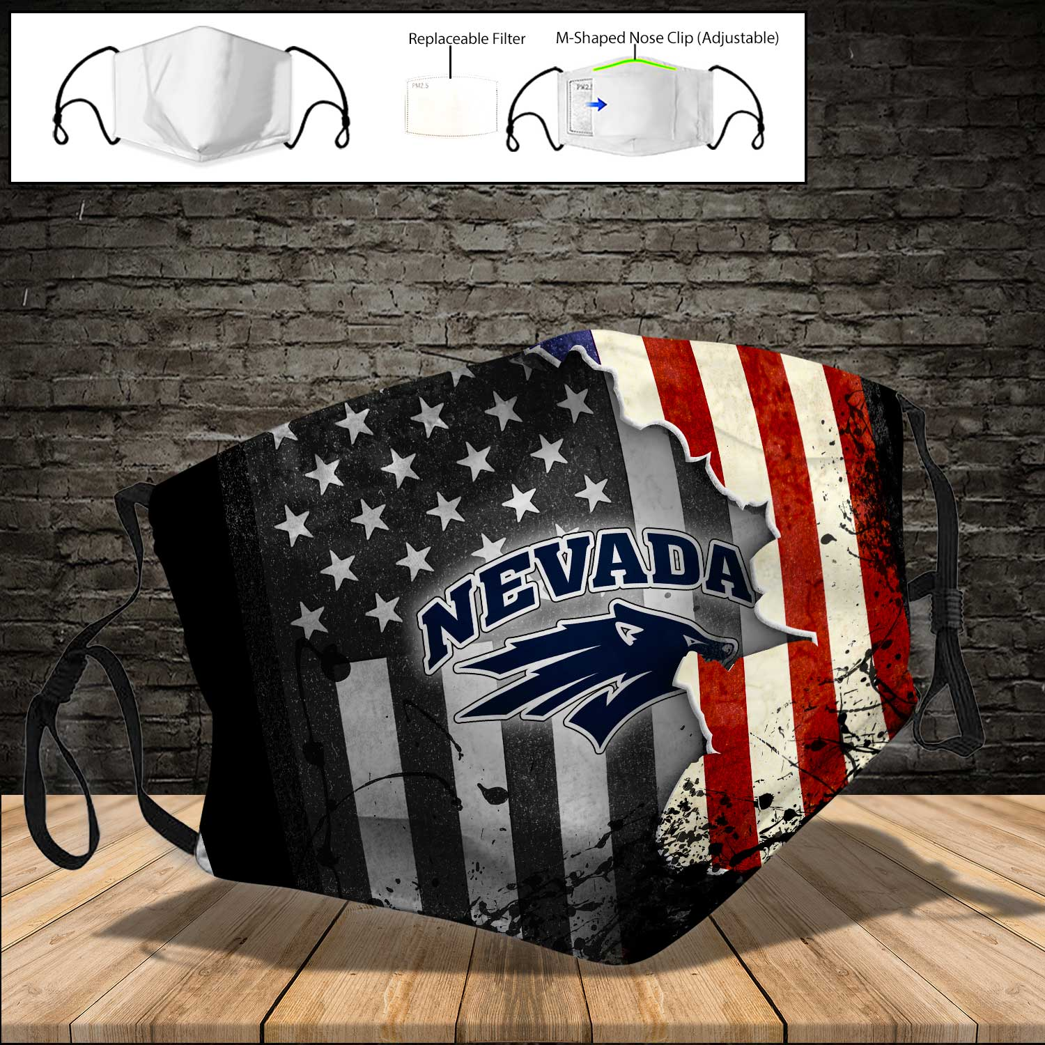 Nevada wolf pack american flag full printing face mask 3