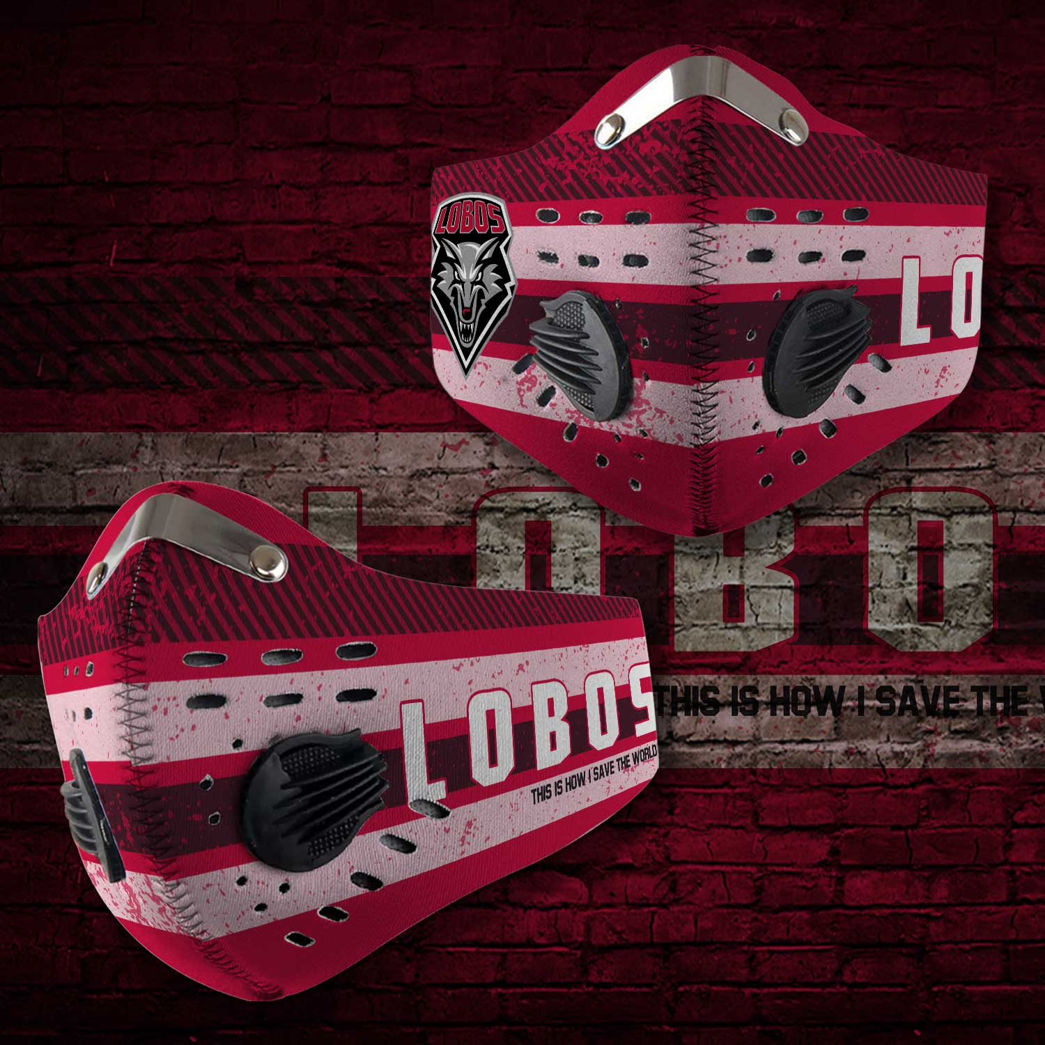New mexico lobos this is how i save the world carbon filter face mask 2