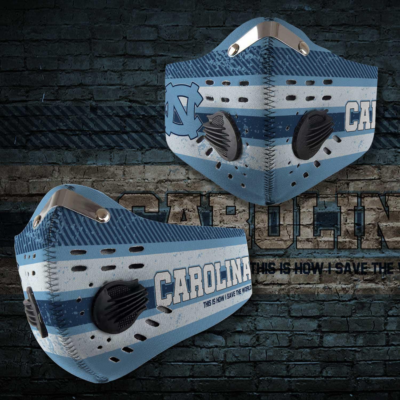 North carolina tar heels carbon filter face mask 2