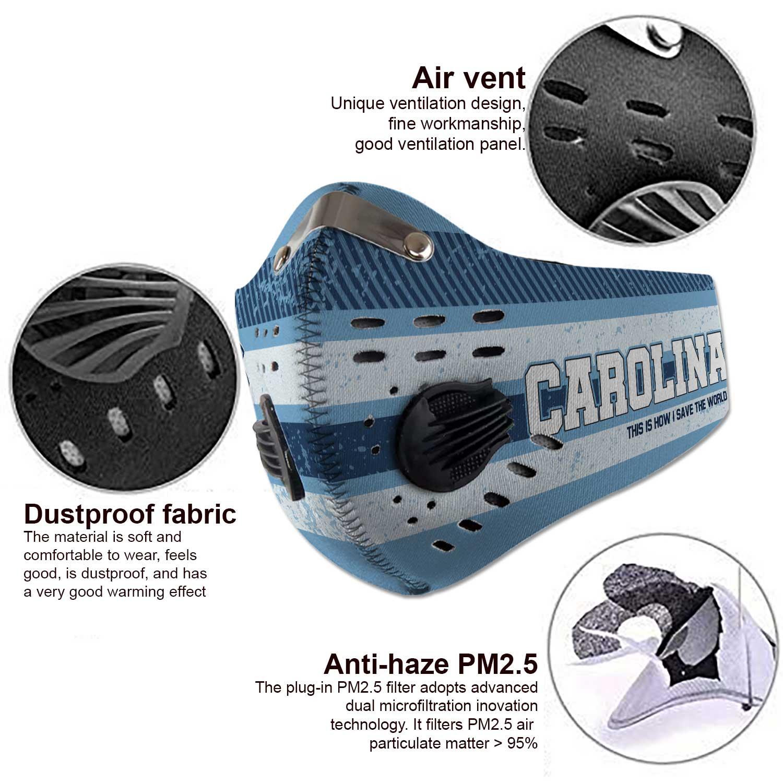 North carolina tar heels carbon filter face mask 3