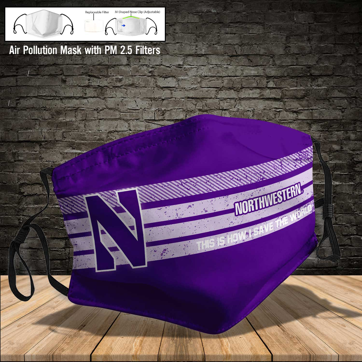 Northwestern wildcats this is how i save the world face mask 4