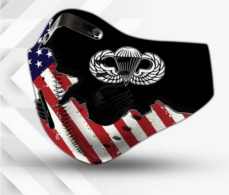 Paratrooper american flag filter activated carbon face mask 2