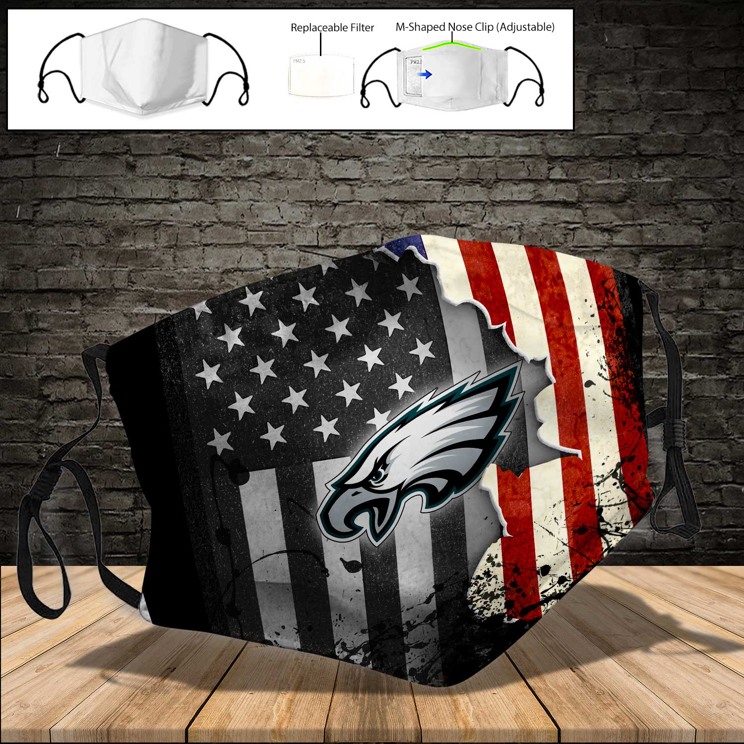 Philadelphia eagles american flag full printing face mask 3