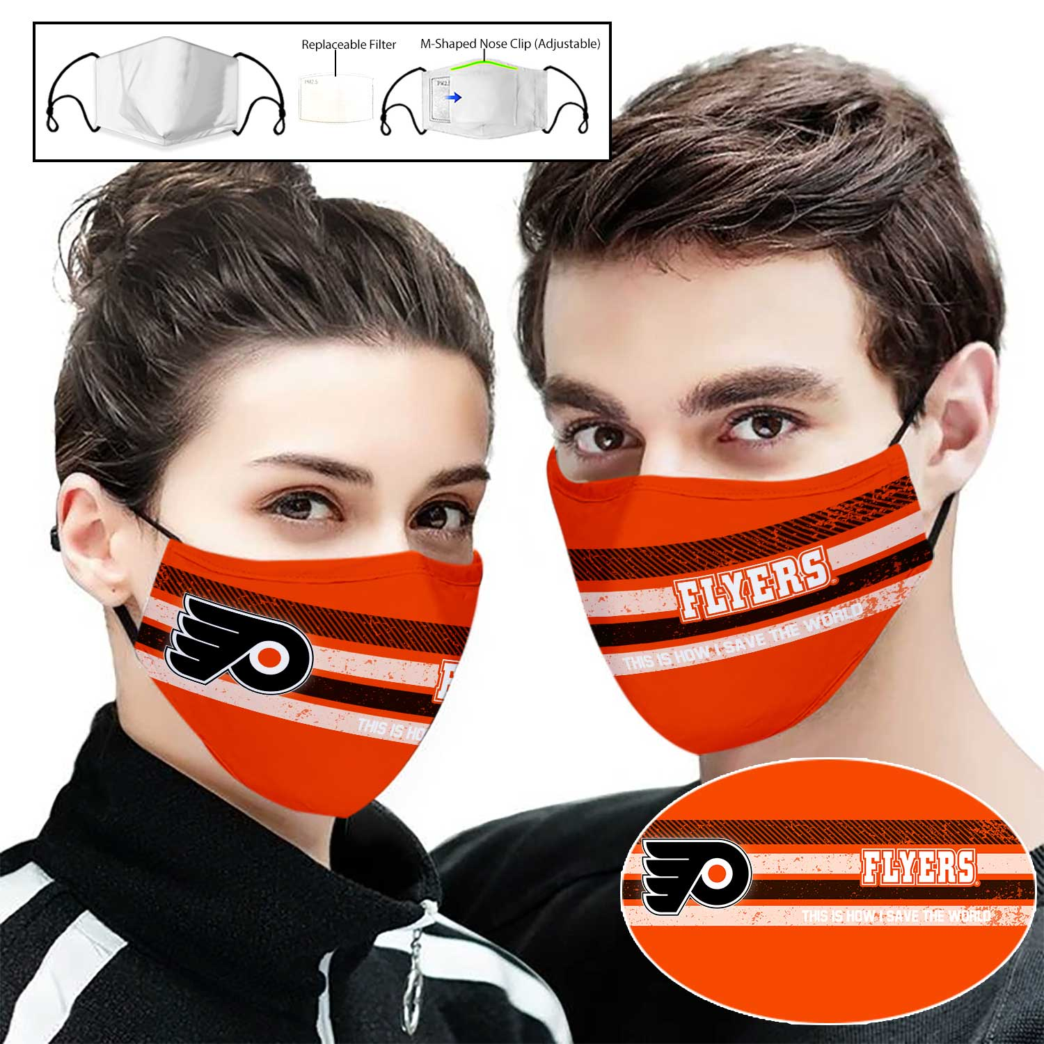 Philadelphia flyers this is how i save the world full printing face mask 1