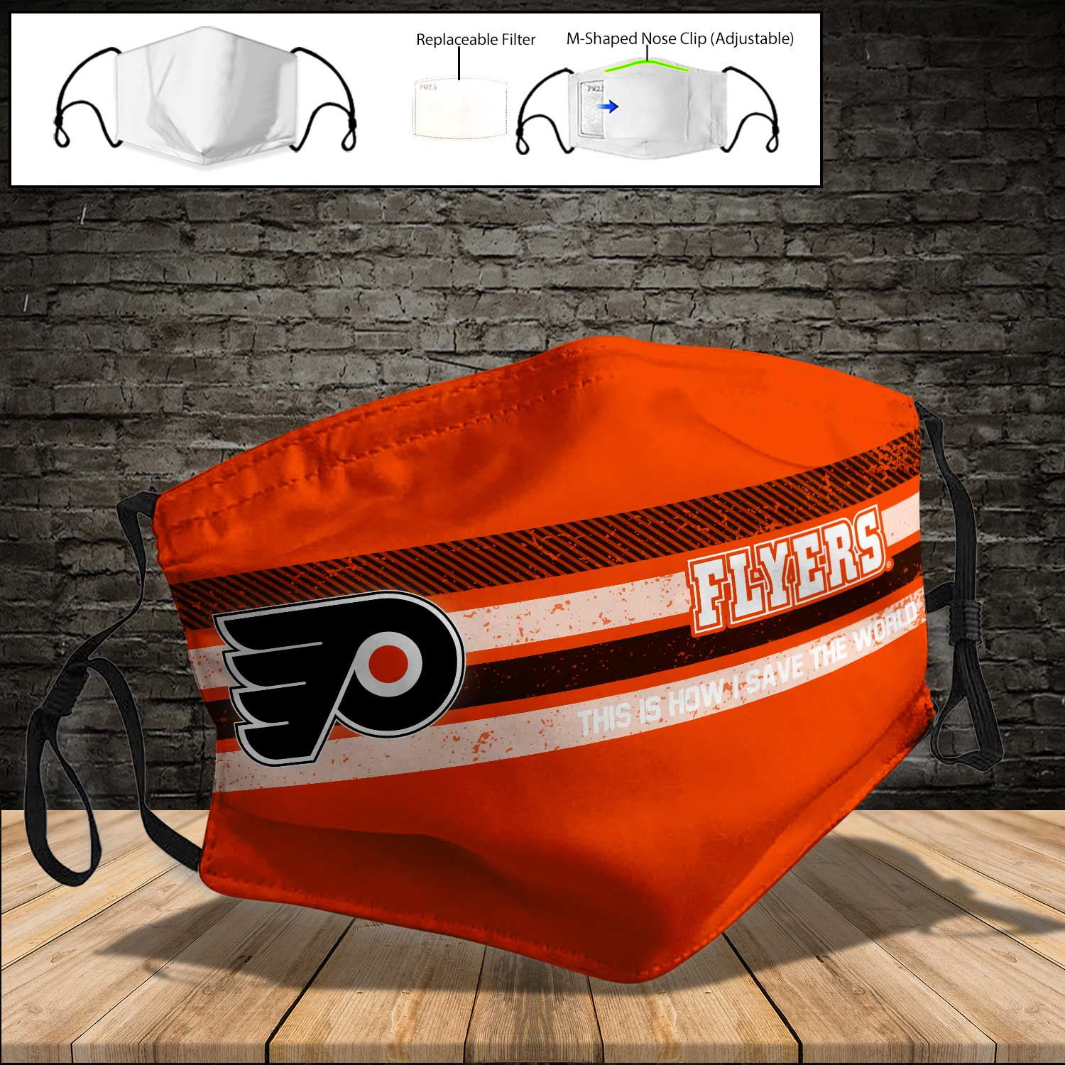 Philadelphia flyers this is how i save the world full printing face mask 3