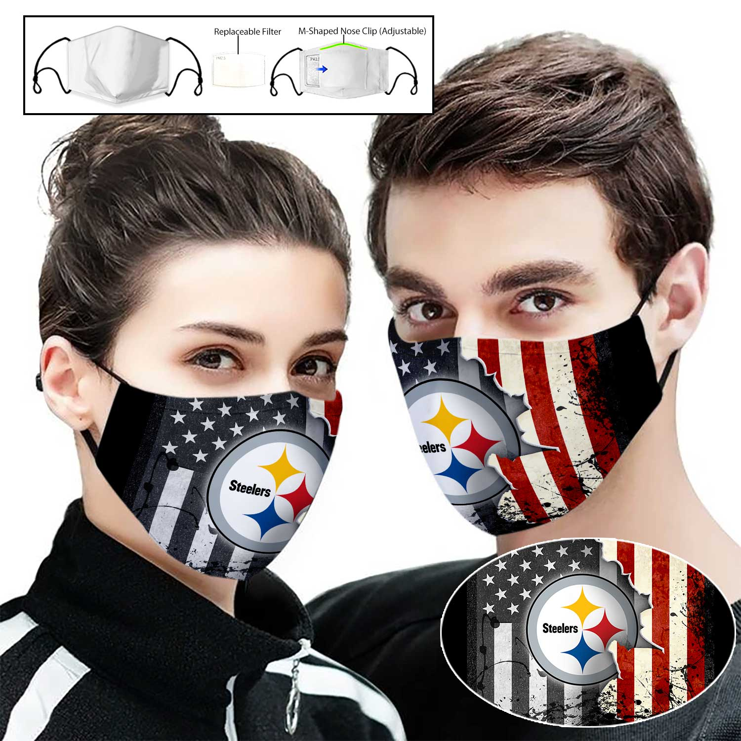Pittsburgh steelers american flag full printing face mask 1