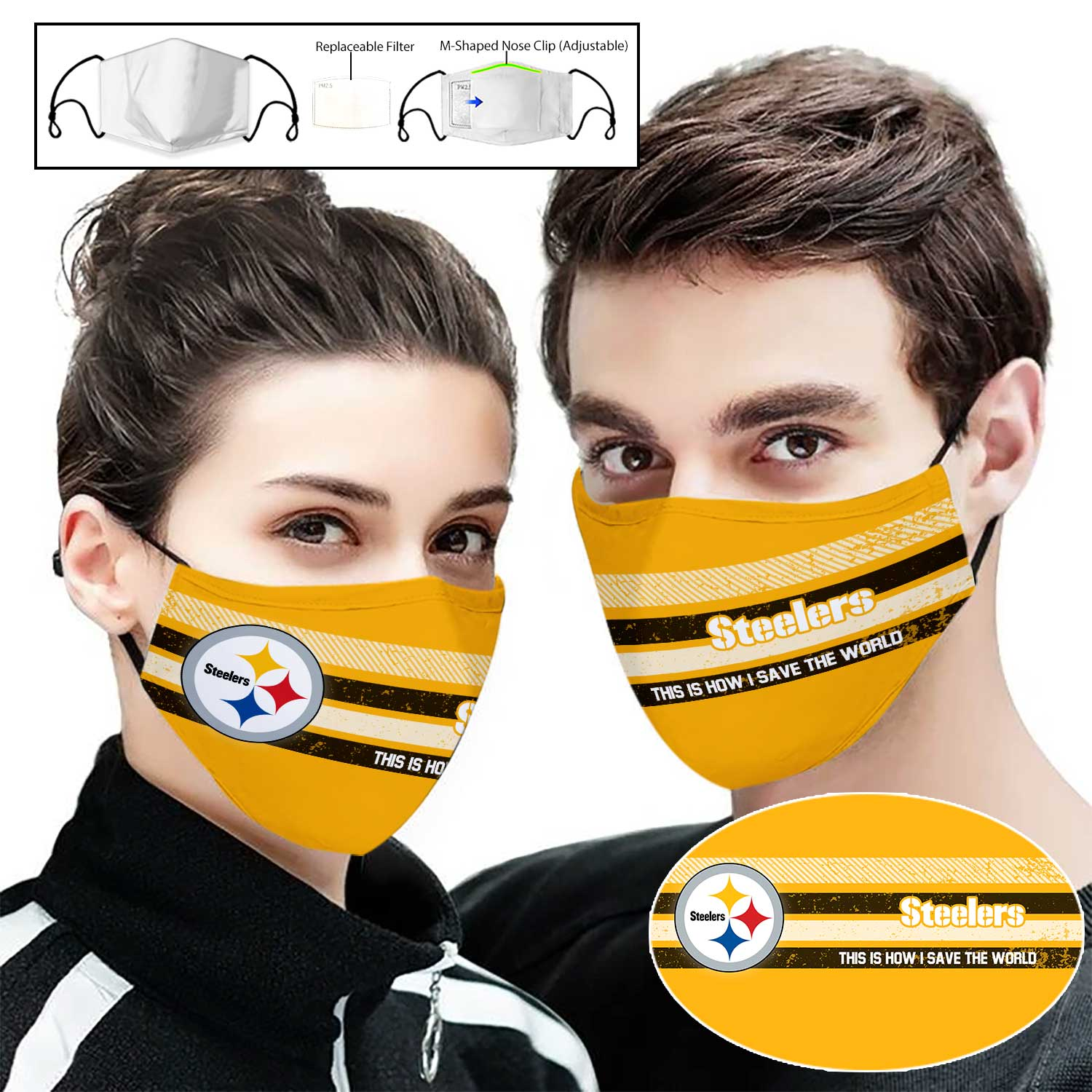 Pittsburgh steelers this is how i save the world full printing face mask 1