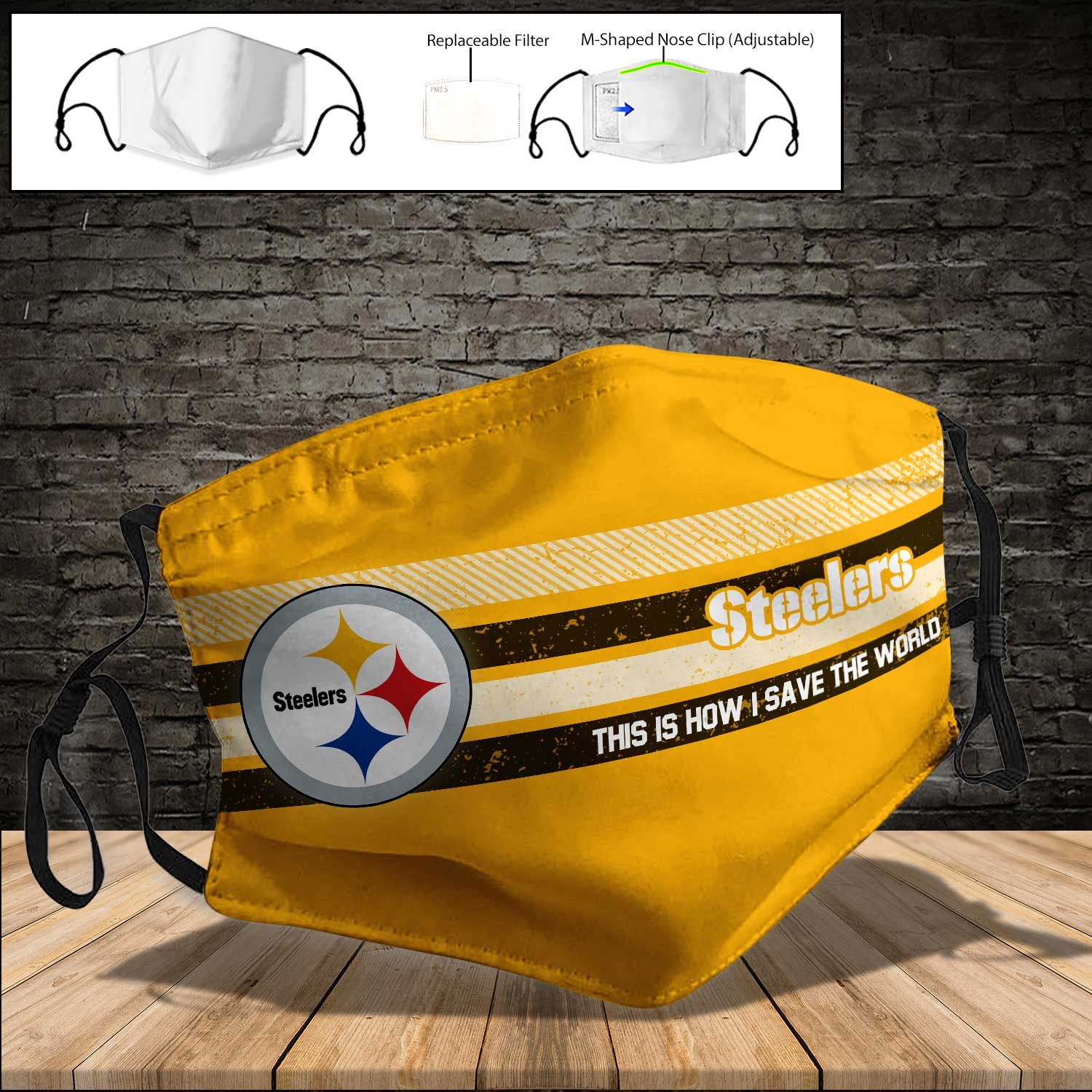 Pittsburgh steelers this is how i save the world full printing face mask 4