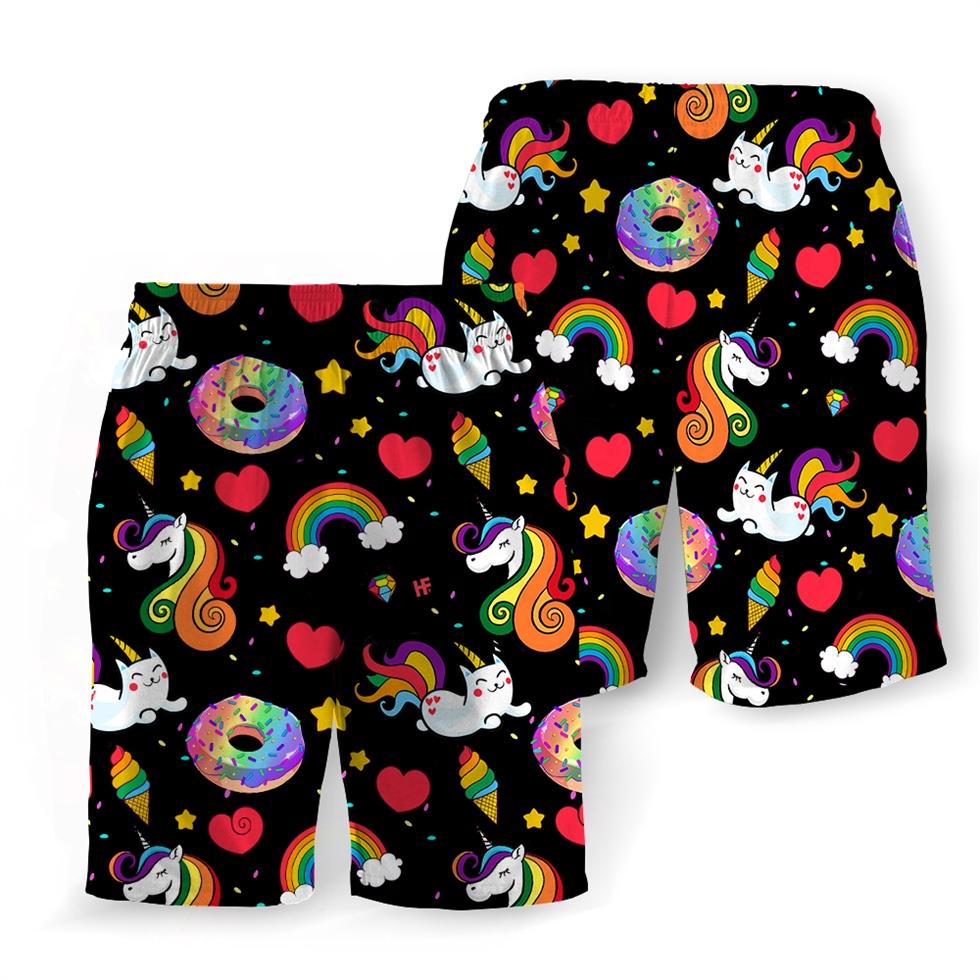 Pride rainbow unicorn kitticorn hawaiian shorts 2