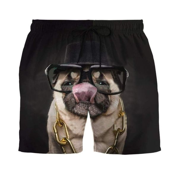 Pug with glasses hawaiian shorts 4