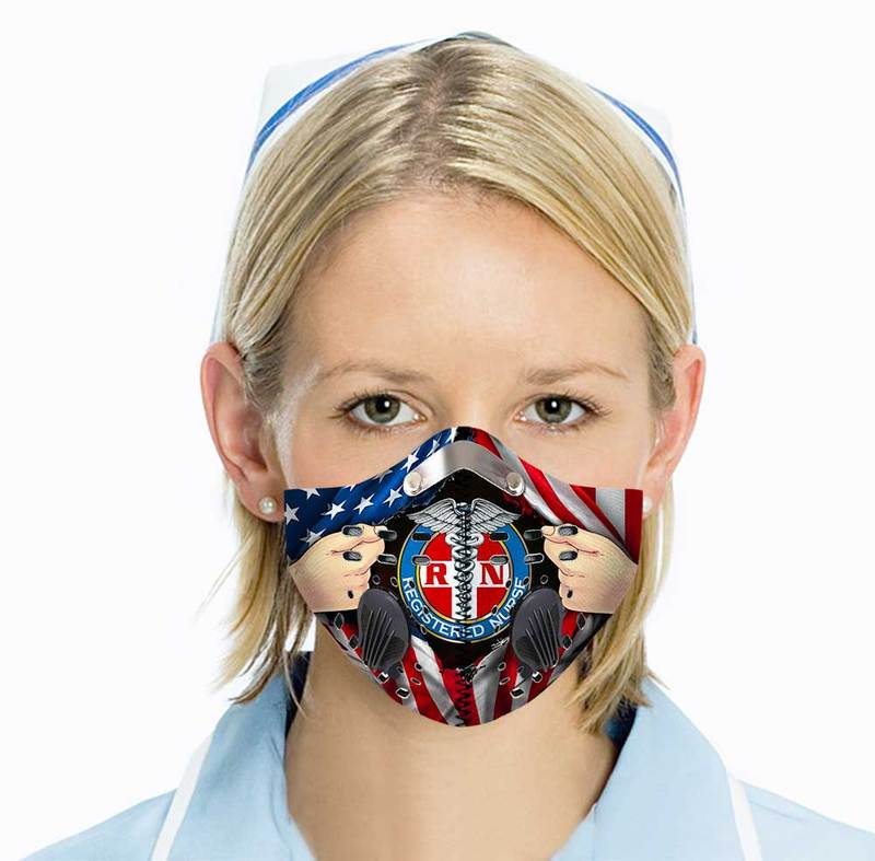 Registered nurse american flag filter activated carbon face mask 1