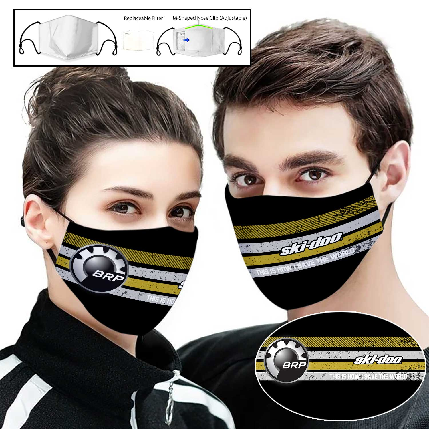 Ski-doo this is how i save the world full printing face mask 1