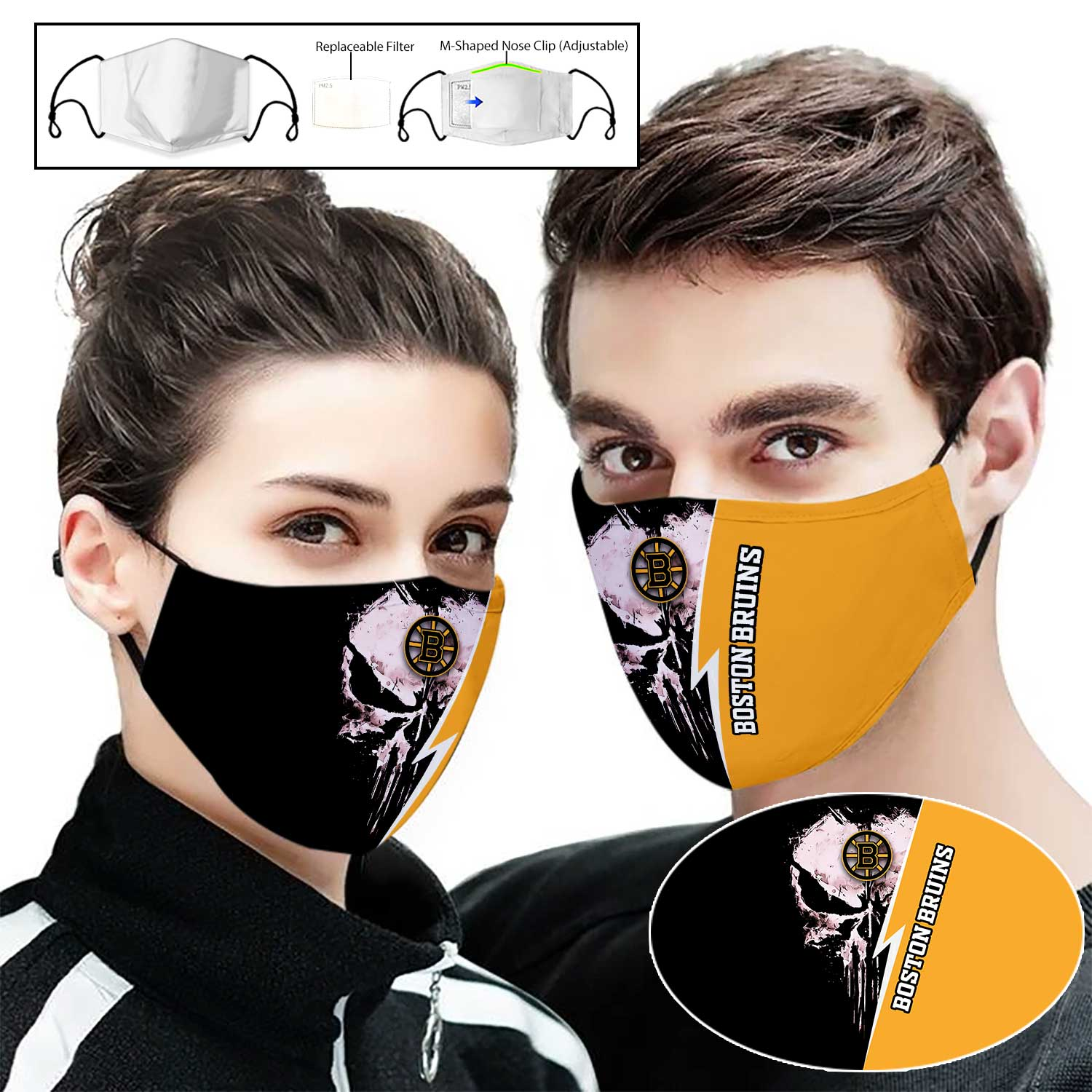Skull boston bruins full printing face mask 2