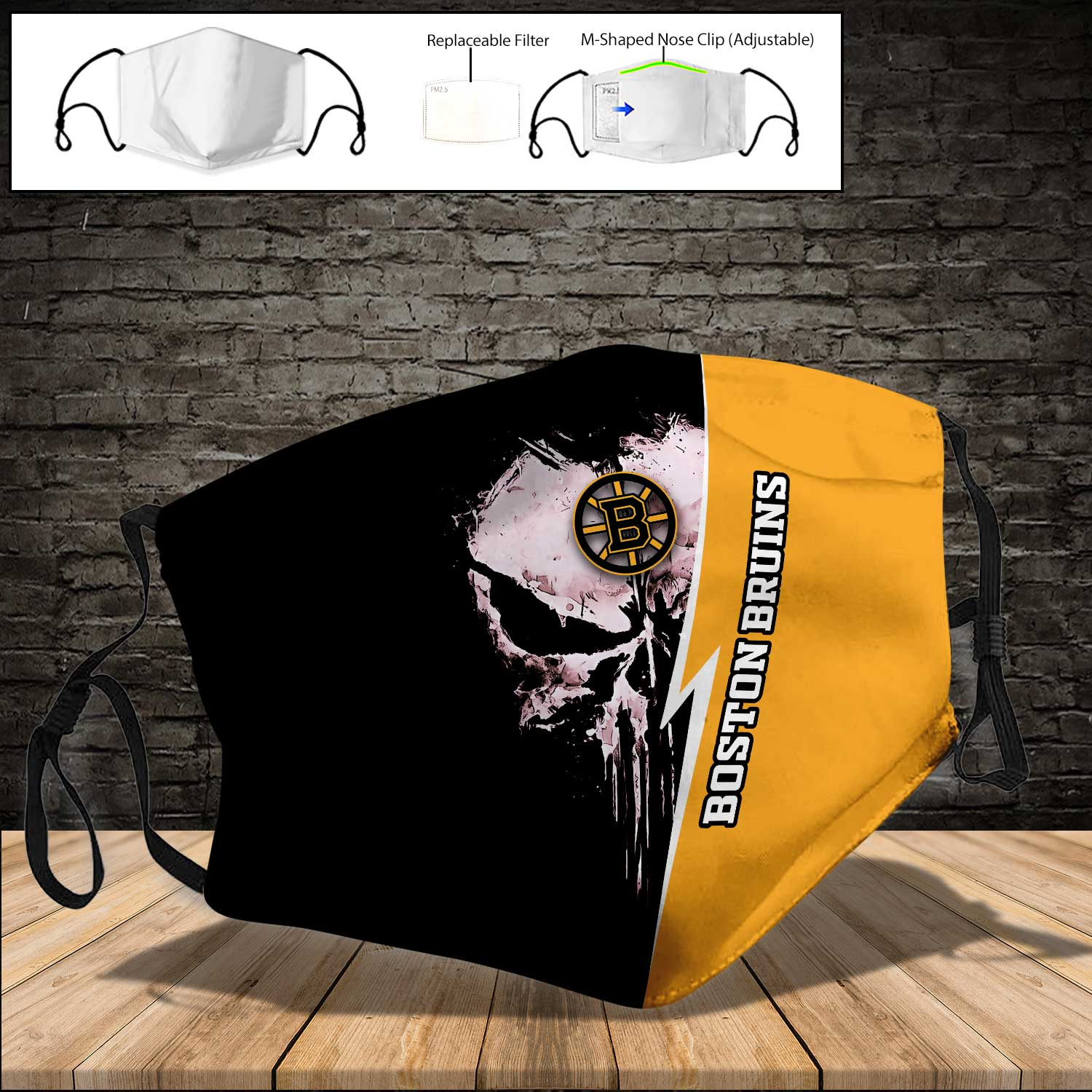 Skull boston bruins full printing face mask 4