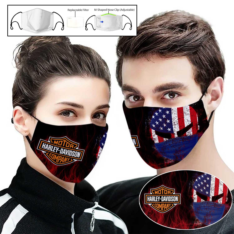 Skull harley davidson american flag full printing face mask 1