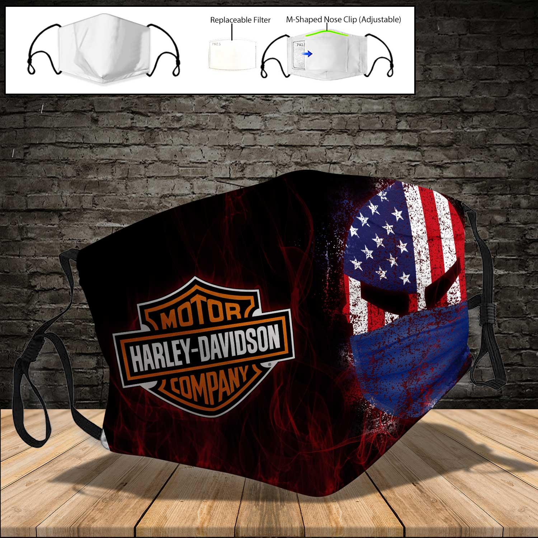 Skull harley davidson american flag full printing face mask 4