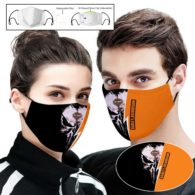 Skull harley-davidson motorcycle company full printing face mask 1