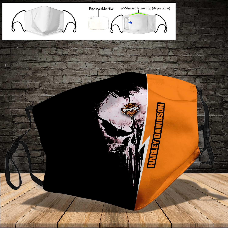 Skull harley-davidson motorcycle company full printing face mask 4