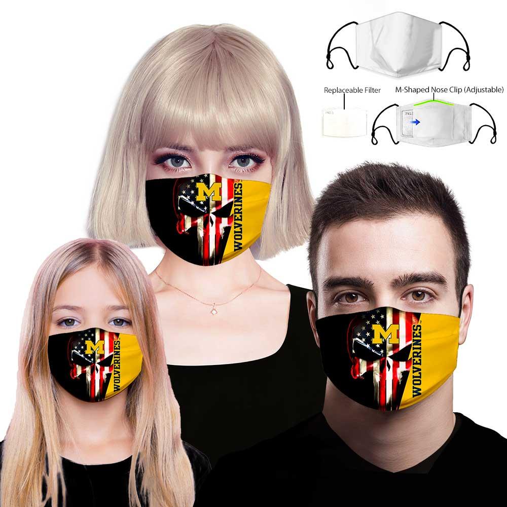 Skull michigan wolverines american flag full printing face mask 3