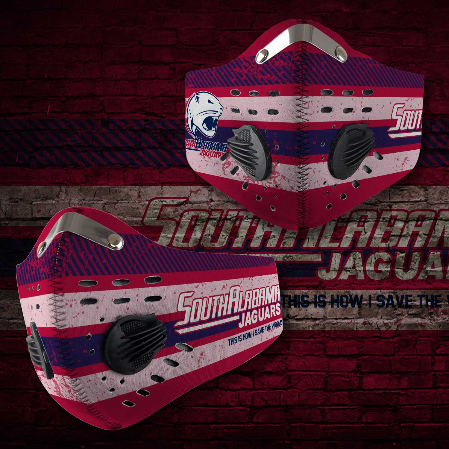 South alabama jaguars this is how i save the world face mask 2
