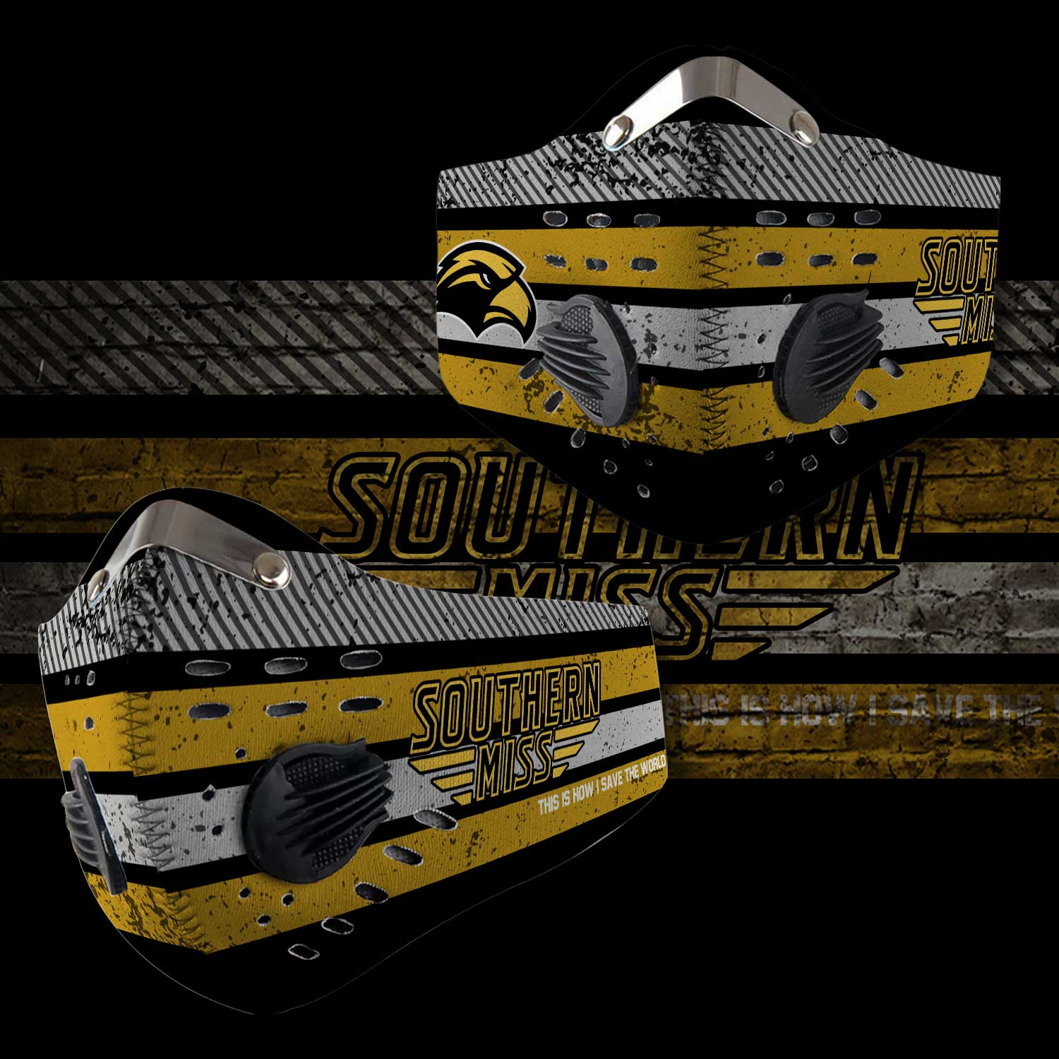 Southern miss golden eagles this is how i save the world face mask 1