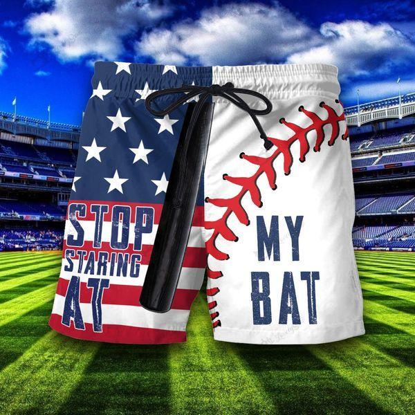 Stop staring at my bat baseball flag hawaiian shorts 3