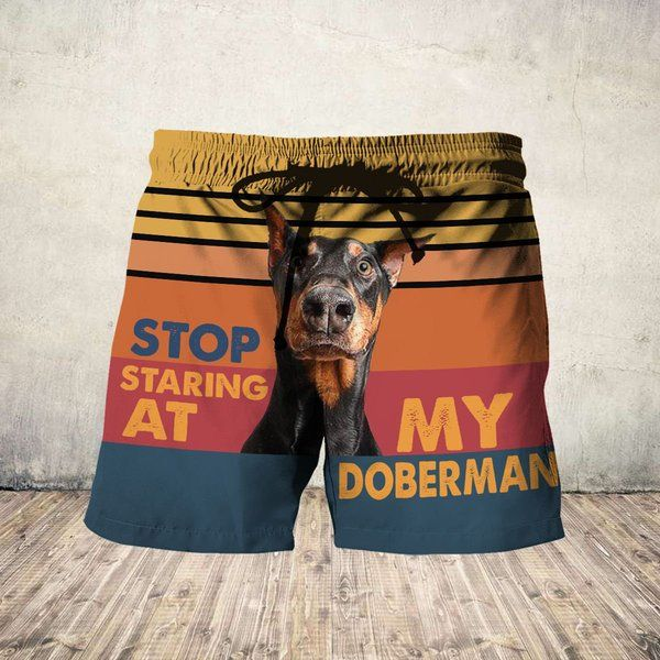 Stop staring at my doberman hawaiian shorts 4